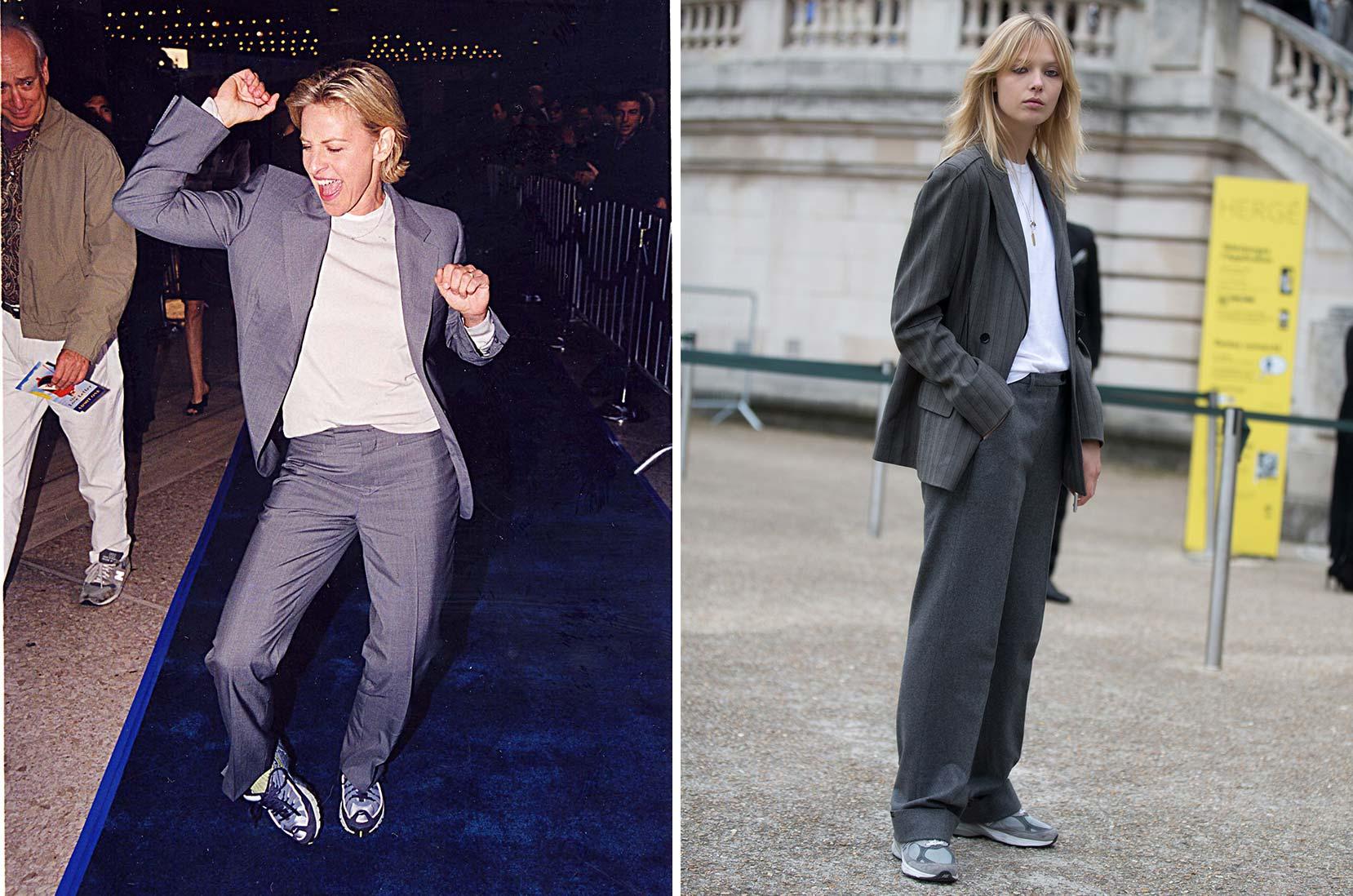 "1) Banbrytande redan 1999: Ellen DeGeneres bär sneakers till sin tvådelade kostym © Jeff Kravitz/FilmMagic, Inc 2) På banan igen 2016: modellen Ulrikke Hoyer med fulsnygga ""dad sneakers"" till kostymen © Melodie Jeng/Getty Images"
