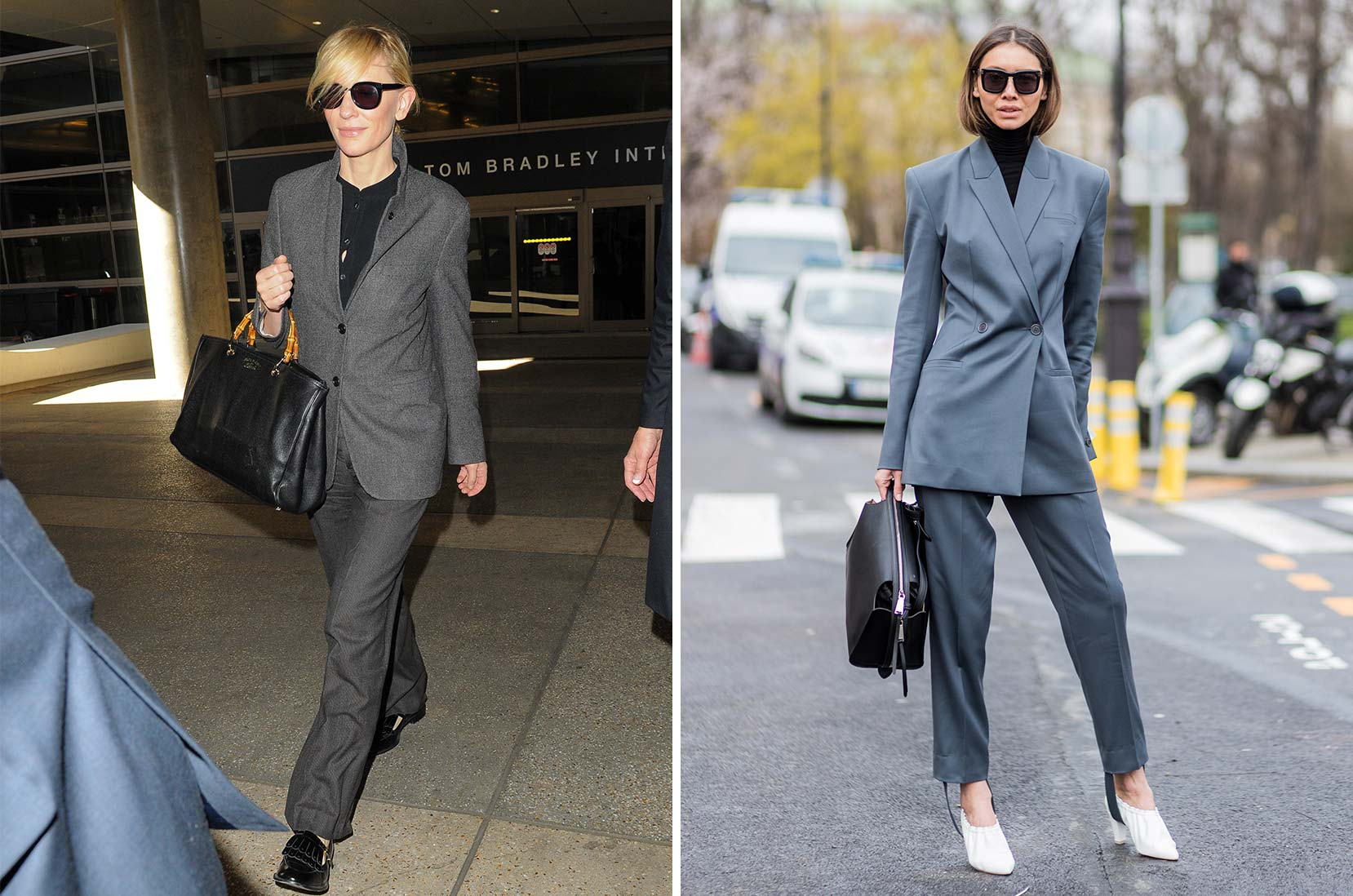 3) Who's the boss? Cate Blanchett i klassiker som kombineras med tofsprydda loafers © GVK/Bauer-Griffin/GC Images 4) Stiluppdatering: I Paris väljer man en tvådelad kostym med skipants och bär den med vita pumps © Christian Vierig/Getty Images
