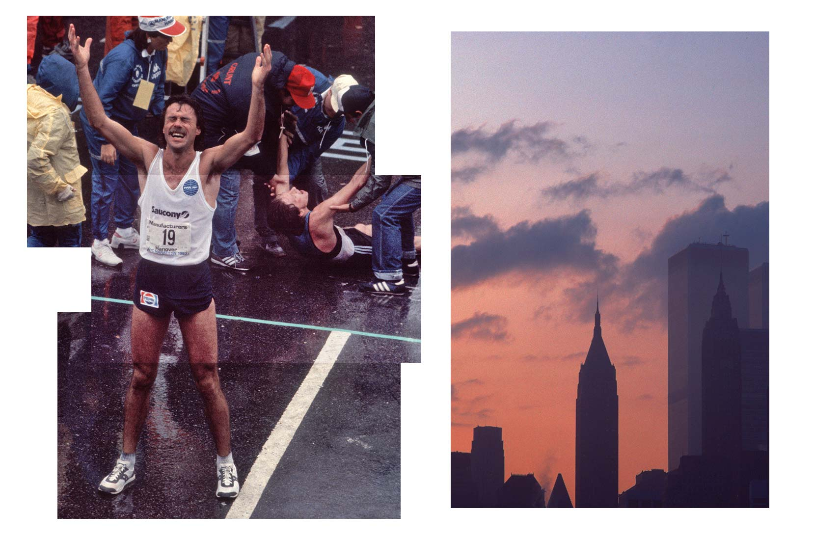 Newzealenderen Rod Dixon vinner NY-maraton, New York, New York, 23. oktober 1983. (Foto Allan Tannenbaum / Getty Images)<br /><br/>Lower Manhattan i skumringen med tvillingtårnene World Trade Center, New York City, 1983. (Foto Alfred Gescheidt / Getty Images)