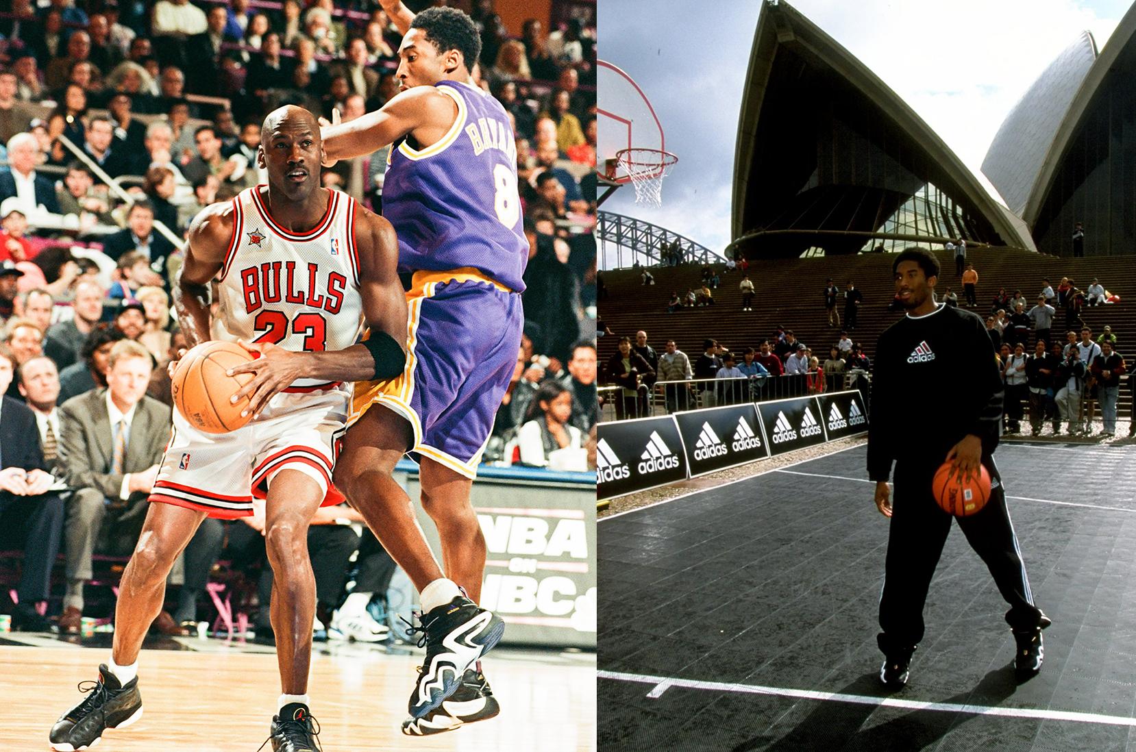 NEW YORK, NY – 8. helmikuuta: 1998 Chicago Bullsien Michael Jordan pelaa Los Angeles Lakersien Kobe Bryantia vastaan vuoden 1998 NBA All-Star -pelissä (Kuva: Sporting News / Getty Images) Elokuu 1998: Kobe Bryant Sydneyn oopperatalon edustalla adidas promokiertueella Sydneyssä.