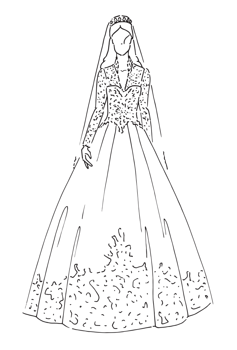 Wedding Dress Line Drawing : The most iconic royal wedding dresses zalando