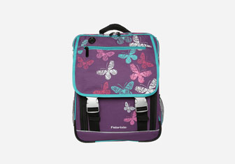 Zalando SKU product FA053I02R-I11, purple backpack with butterfly print on it