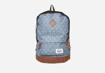 Zalando SKU product FA053I02U-K11, blue backpack with white print on it