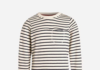 Zalando SKU product TS124K00M-A11, white pullover with blue stripes printed across it
