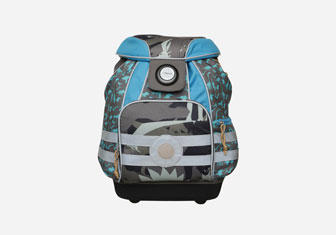 Zalando SKU product L6253I00G-L11, blue backpack with print on its side with wheels