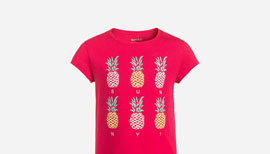 Zalando SKU product GP023G01Z-I11, pink t-shirt with pineaples printed on it