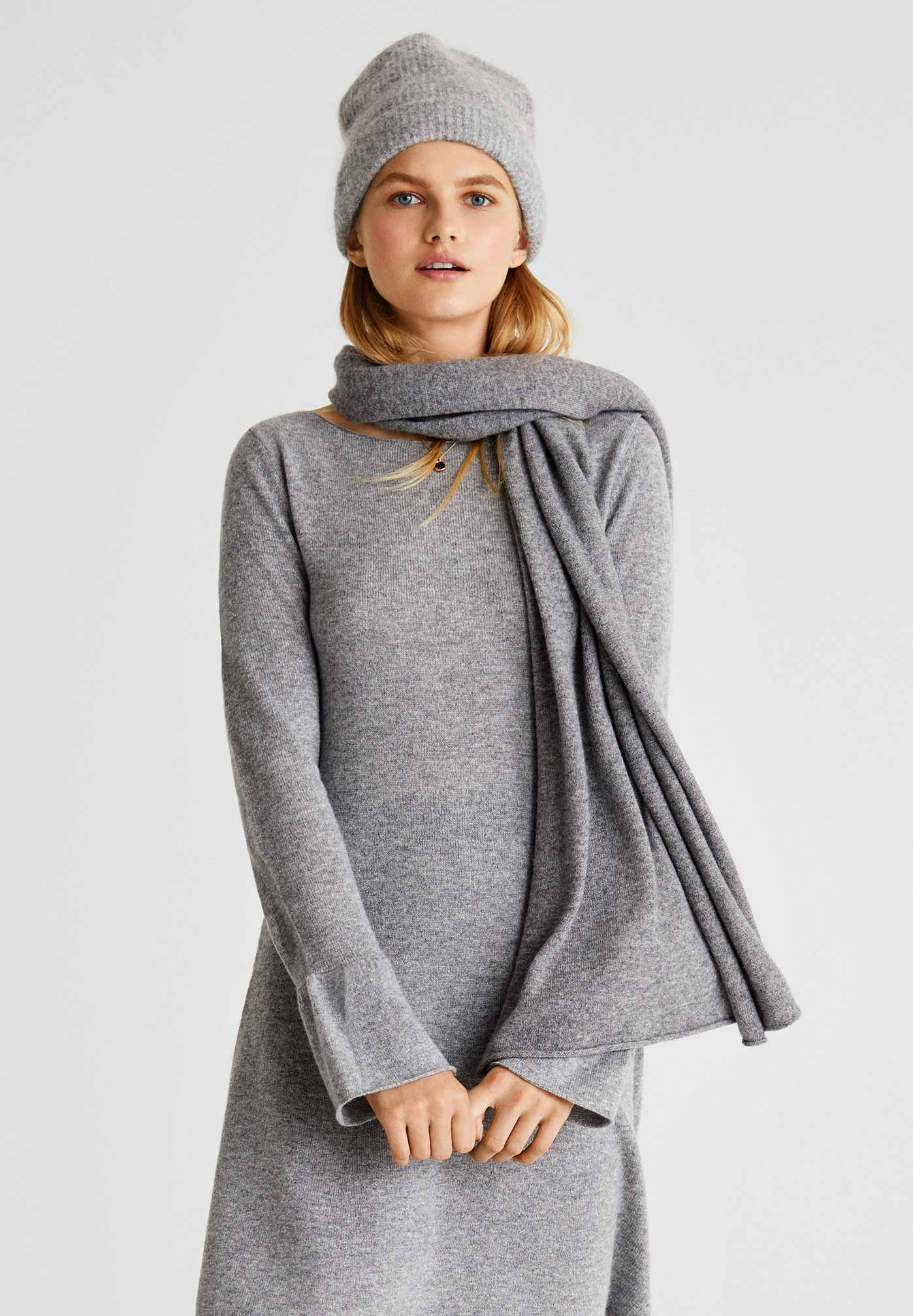 woman in grey cashmere