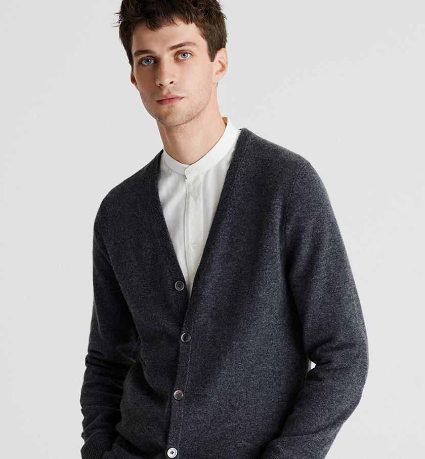 man wearing grey cashmere cardigan