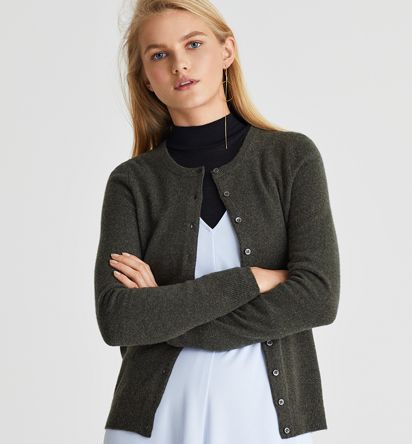 women in grey cashmere cardigan