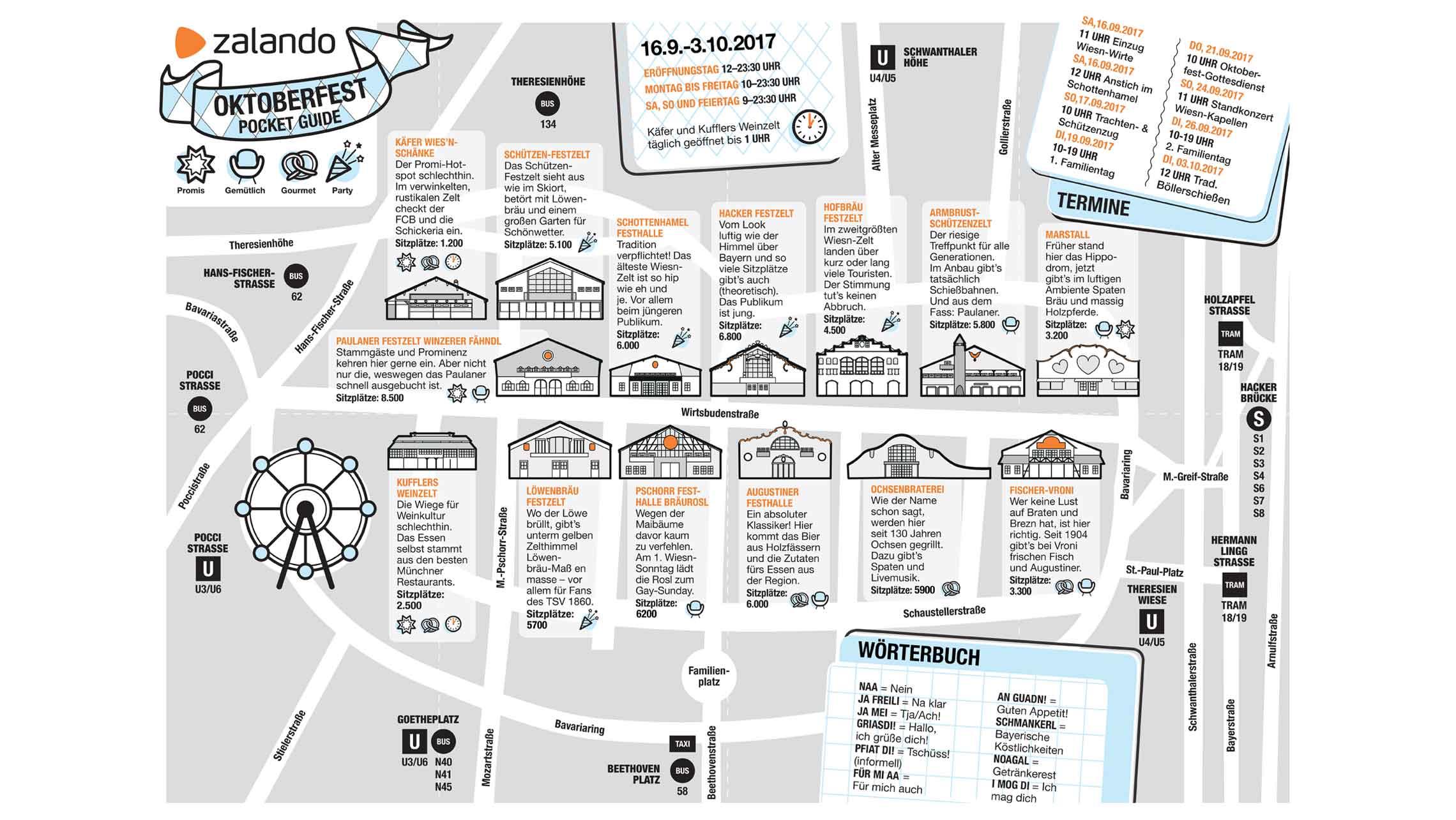 Karte des Oktoberfests zur Orientierung