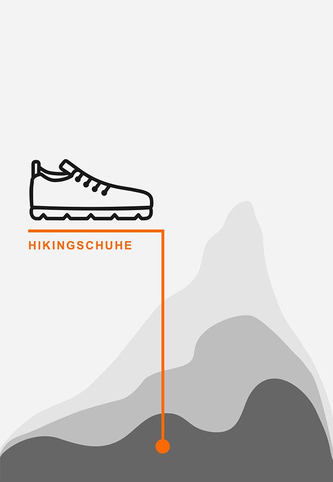 Mittelgebirge und Hügel mit Hikingschuhen