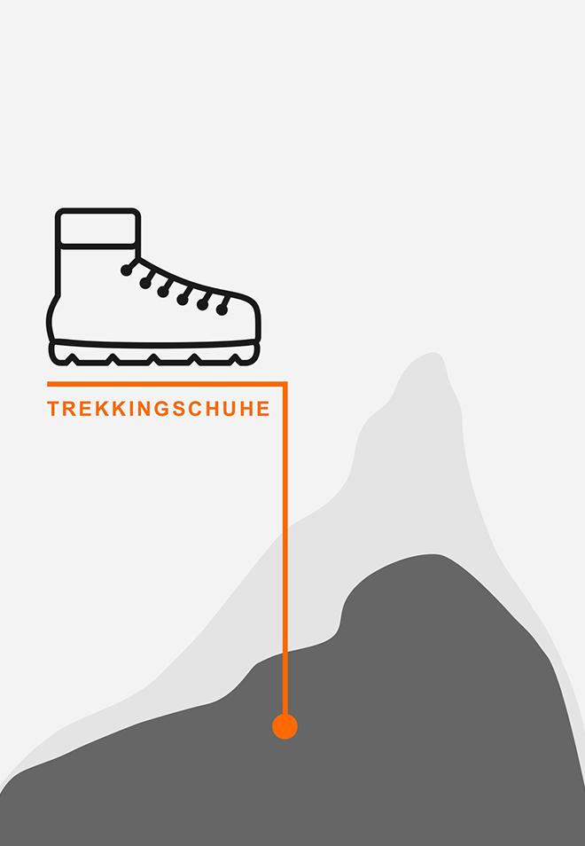 Berge und Hochgebirge mit Trekkingschuhen
